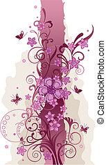 Flores rosas y mariposas