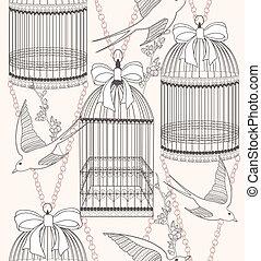 Flores sin costura y patrones de aves
