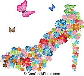 flores, tacón, alto