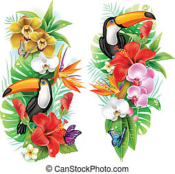 Flores tropicales, toucanos y mariposas