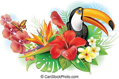 flores tropicales, tucán, hibisco, rojo