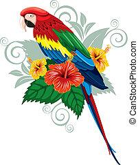 Flores tropicales y loro