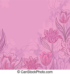Flores, tulipanes, rosa