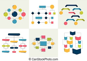 Flores. Un conjunto de 6 esquemas de flujo, diagramas. Simplemente coloreable. Los elementos infográficos.