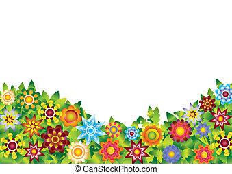 flores, vector, jardín