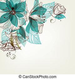 flores, vector, retro, ilustración