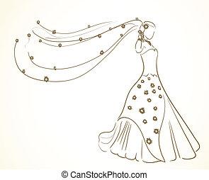 flores, vestido, velo, boda