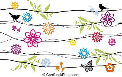 Flores y pájaros