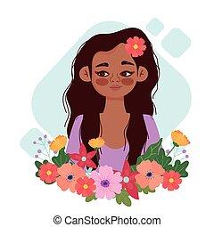 florista, lindo, cabeza, caricatura