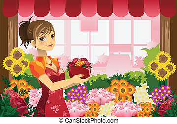 florista, niña