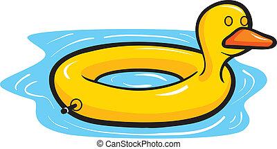 flotador, piscina, pato