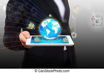 Flujo estremecedor de datos con la moderna tablet pc
