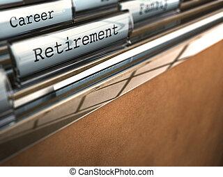 Folder con la palabra de jubilación y en el fondo otra en la que se escribe carrera, efecto borroso papel marrón, espacio para el texto