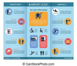 folleto, aeropuerto, infographic, empresa / negocio