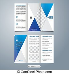 folleto, diseño, moderno, geométrico, plantilla, pliegue, tri, vector