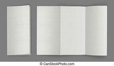 folleto, pliegue, aviador, blanco