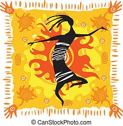 fondo anaranjado, figura, bailando