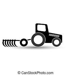 fondo., arado, negro, blanco, tractor