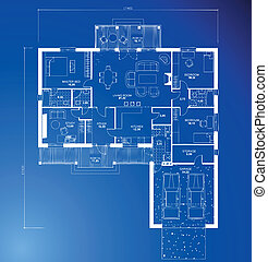 fondo., arquitectónico, vector, cianotipo