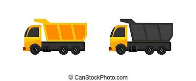 fondo blanco, aislado, camión, icono, basurero