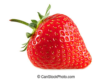 fondo., blanco, aislado, fresa, rojo