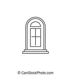 fondo blanco, aislado, icono, símbolo, puerta, arco, vector