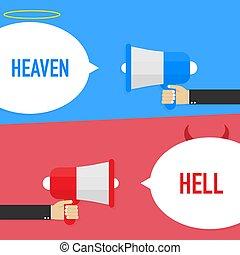 fondo., blanco, bueno, o, diablo, símbolo., infierno, illustration., heaven., vector, ángel, malo