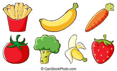 fondo blanco, fruits, vegetales, conjunto