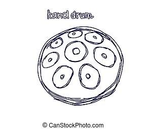 fondo., blanco, tambor, sketch., mano, vector