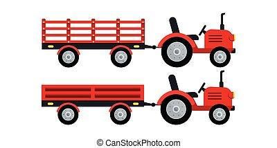 fondo., blanco, tractor, aislado, remolque, granjero, icono, conjunto