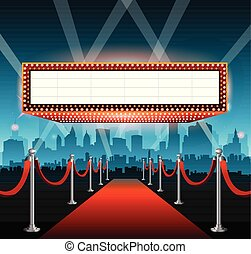 Fondo de alfombra roja y ciudad de Hollywood