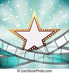 Fondo de cine abstracto con estrella dorada