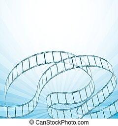 Fondo de cine abstracto con tiras retro, rayos. Ilustración de vectores