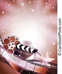 Fondo de cine con clapper, estrella, rollos de película y tiras. Ilustración de vectores