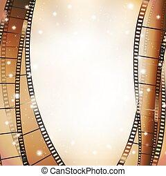 Fondo de cine con retro cinematografía y estrellas