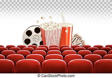 Fondo de cine con un rollo de película, palomitas, bebida y entradas