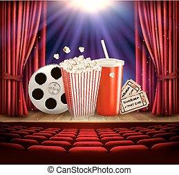 Fondo de cine con un rollo de película, palomitas, bebida y entradas. Vector.