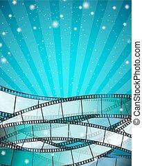 Fondo de cine vertical con rayas de película sobre fondo azul con rayas y partículas brillantes. Ilustración de vectores