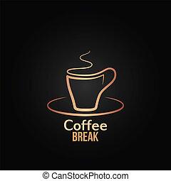 Fondo de diseño de etiqueta de tazas de café
