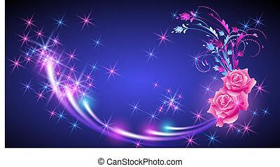 Fondo de fantasía con rosas y estrellas brillantes