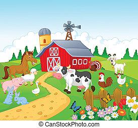 Fondo de granja de dibujos animados con animales