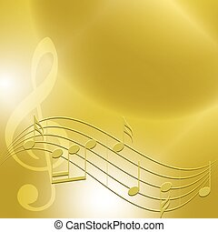 Fondo de música dorada con notas - vector