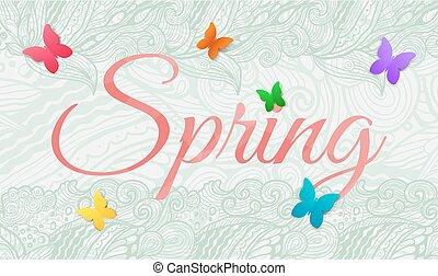 Fondo de primavera con mariposa