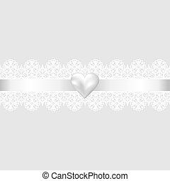 Fondo de tela de encaje y corazón de perla