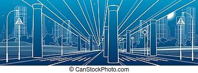 fondo., debajo, town., vector, noche, blanco, grande, illustration., líneas, diseño, overpass., highway., grande, azul, arte, contorno, bridge., urbano, scene., coche, industrial, moderno