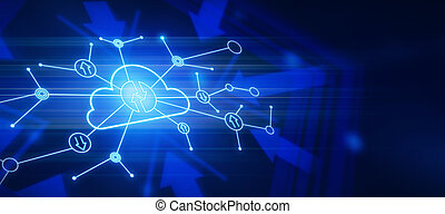 fondo digital, almacenamiento, flechas, intercambio, nube, encendido, resumen, oscuridad, datos, concepto, líneas, icono