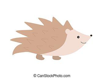 fondo., divertido, hedgehog., vector, blanco, caricatura, ilustración