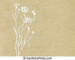 fondo., grunge, vector, floral