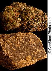 fondo., hachís, negro, aislado, marijuana