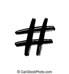 fondo., icono, blanco, ilustración, señal, vector, hashtag